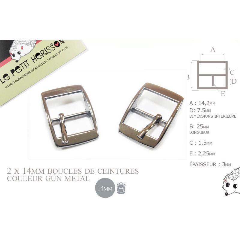 2 x 14mm - couleur gunmetal - boucles de ceintures - métal