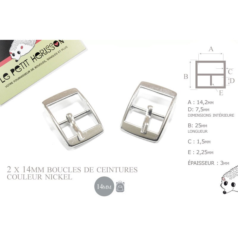 2 x 14mm - couleur nickel - boucles de ceintures - métal