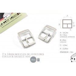 2 x 14mm Boucles de ceintures / Métal / Nickel Mat