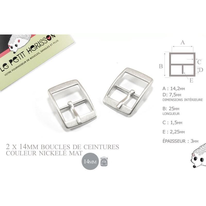 2 x 14mm - couleur nickelé mat  - boucles de ceintures - métal