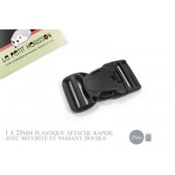 1 x 25mm Boucle Attache Rapide / Fermoir Clip / Plastique / Sécurité / Noir / Tactique