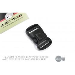 1 x 25mm Boucle Attache Rapide / Fermoir Clip / Plastique / Sécurité / Court / Noir