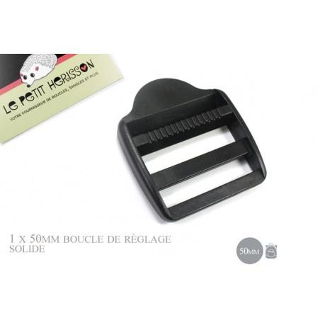1 x 50mm Boucle de Règlage / Boucle de Serrage / Plastique / Noir