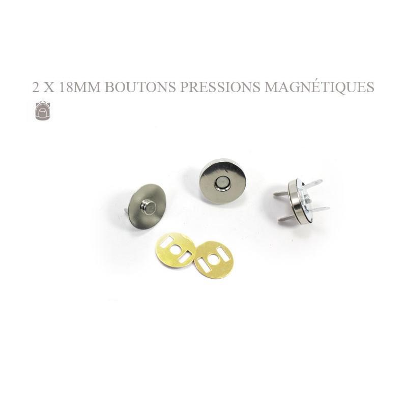 2 x 18mm Fermoirs Magnétiques / Epais / Argente / Nickel