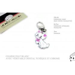 1 x 24mm Charm Chat / Véritable cristal tchèque / blanc