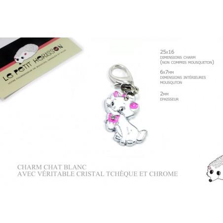 1 x 25mm Breloque / Pendentif Chat / Blanc
