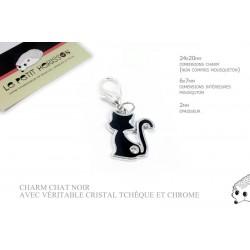 1 x 24mm Charm Chat / Véritable cristal tchèque / noir