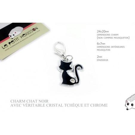 1 x 24mm Breloque / Pendentif Chat / Noir