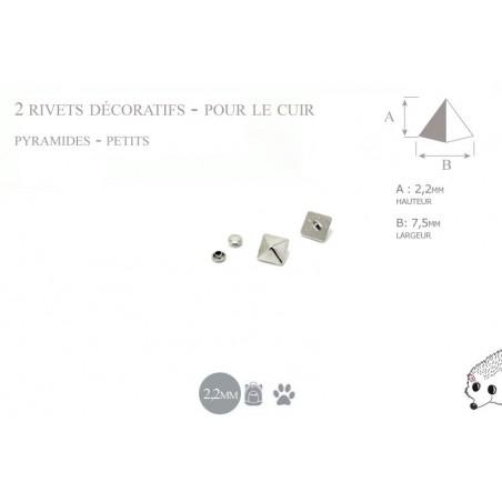2 rivets décoratifs pyramides - petits - pour le cuir - modèle 2