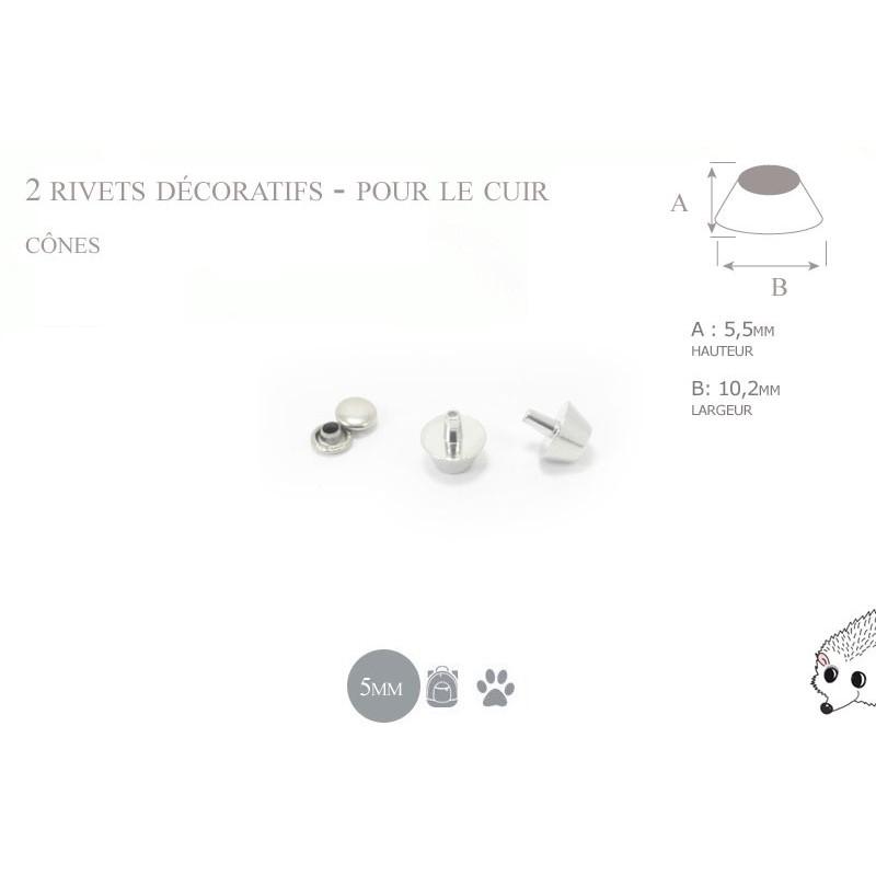 2 rivets décoratifs cônes - pour le cuir