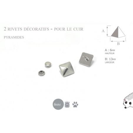 2 rivets décoratifs pyramides - pour le cuir - modèle 1