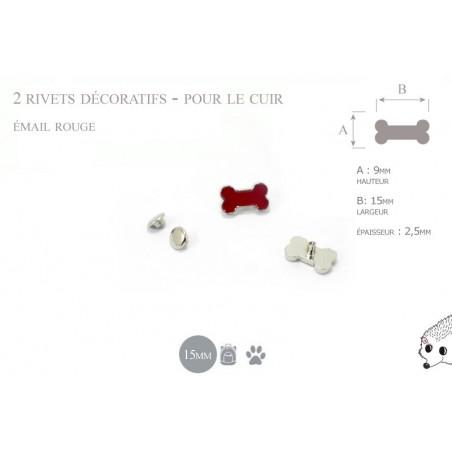 2 rivets décoratifs os  - pour le cuir - email rouge