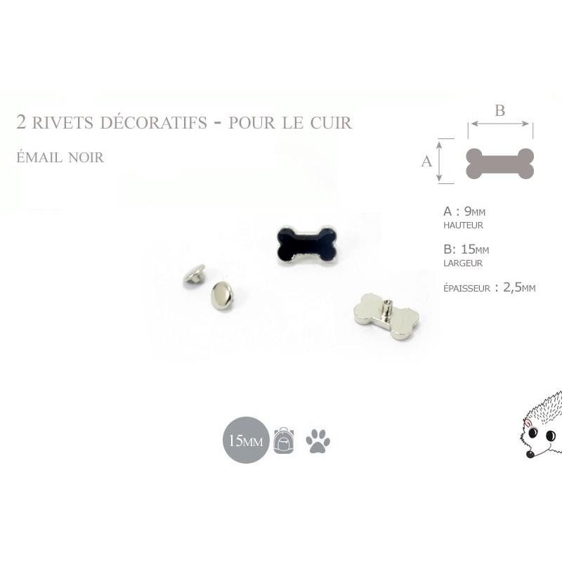 2 rivets décoratifs os  - pour le cuir - email noir