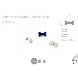 2 rivets décoratifs os  - pour le cuir - email bleu