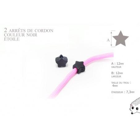 2 Arrêts de cordon / Etoile / Plastique / Noir
