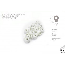 2 Arrêts de cordon / Petite Boule/  Plastique / Blanc