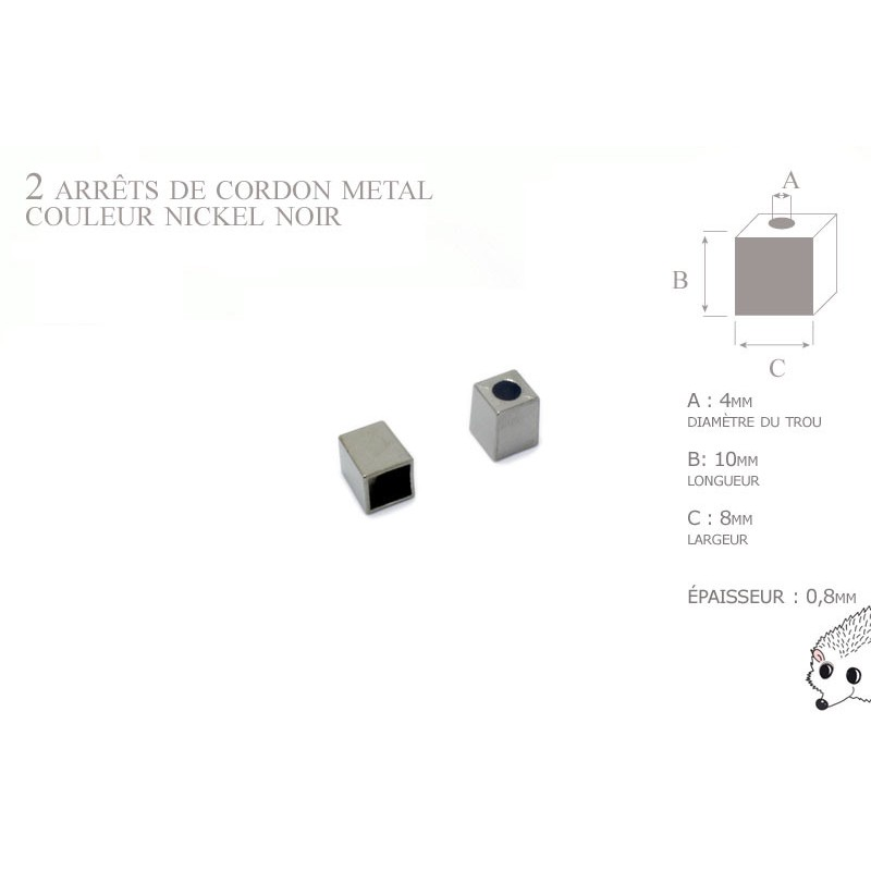 2 Arrêts de cordon / Carre / Metal / Nickel Noir