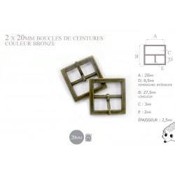 2 x 20mm Boucles de ceintures / Métal / Bronze Antique / Carré