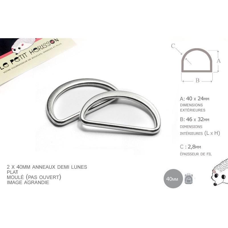 2 x 40mm Anneaux demi lunes / Metal /  Moulé / Plat / Nickel