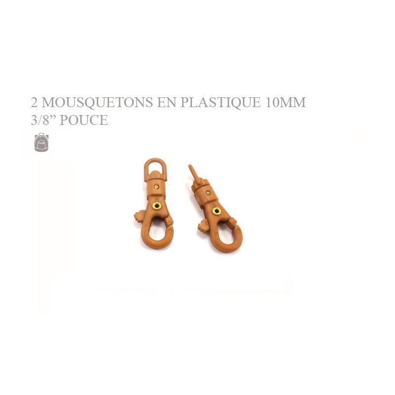 2 x 10mm Mousquetons Pivotants / Plastique / Marron