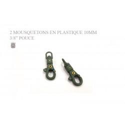2 x 10mm Mousquetons Pivotants / Plastique / Vert