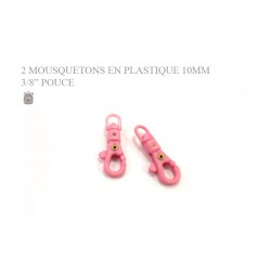 2 x 10mm Mousquetons Pivotants / Plastique / Rose