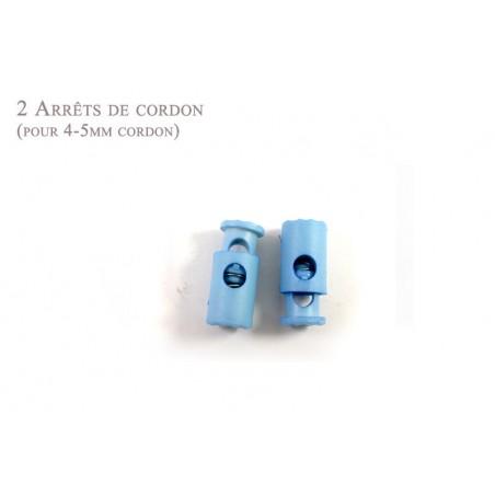 2 Arrêts de cordon / Cylindre / Plastique / Bleu Clair