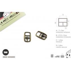 2 x 7mm Boucles de ceintures / Métal / Bronze Antique / Pour les Chaussures
