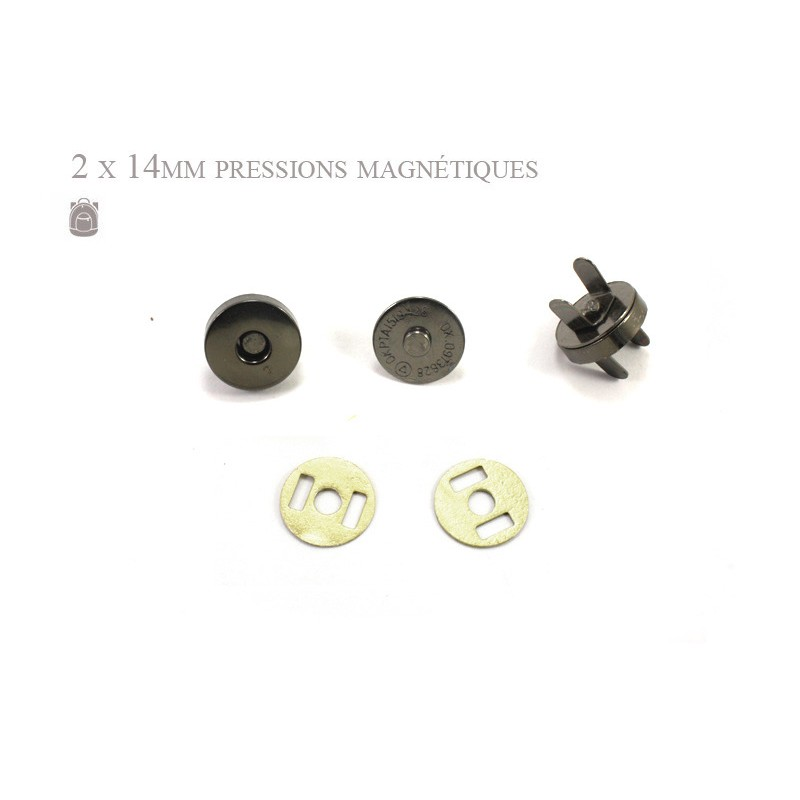 2 x 14mm Fermoirs Magnétiques / Epais / Gunmetal