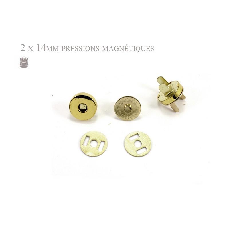 2 x 14mm Fermoirs Magnétiques / Epais / Dore Jaune