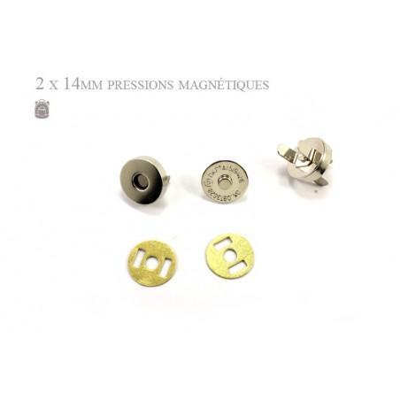 2 x 14mm Fermoirs Magnétiques / Epais / Argente / Nickel