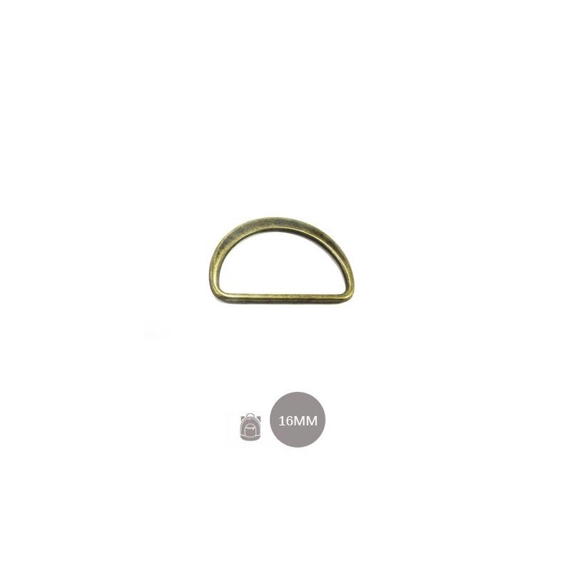 4 x 16mm Anneaux demi lunes / Metal /  Moulé / Plat / Bronze