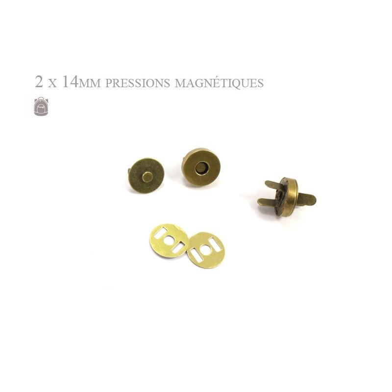 2 x 14mm Fermoirs Magnétiques / Epais / Bronze Antique