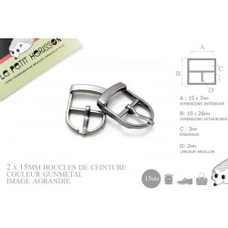 2 x 15mm Boucles de ceintures / Métal / Gunmetal / Pour les Chaussures