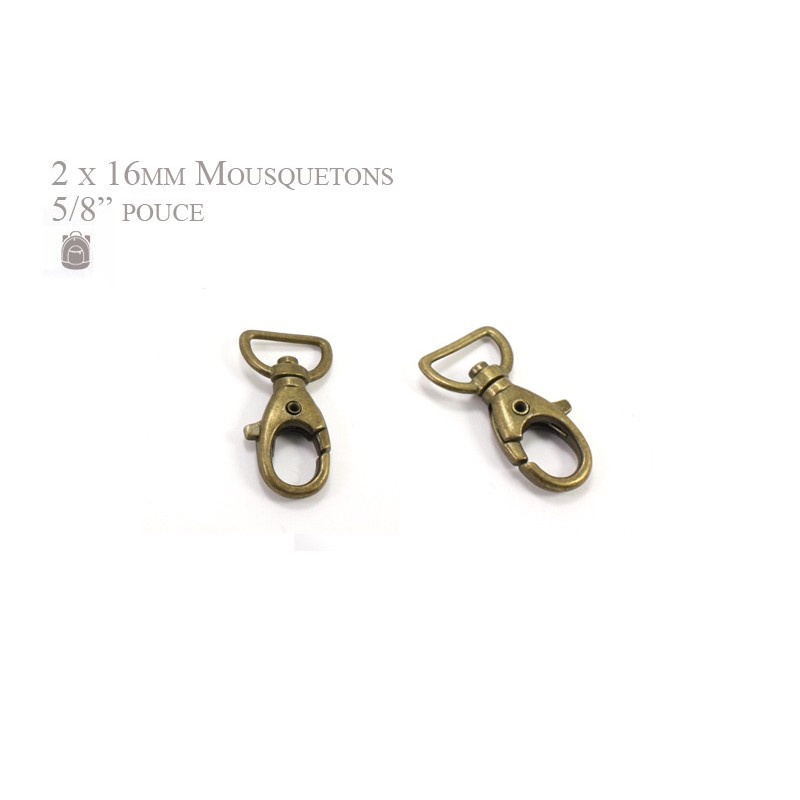 2 x 16mm Mousquetons Pivotants / Métal / Bronze / Style 5