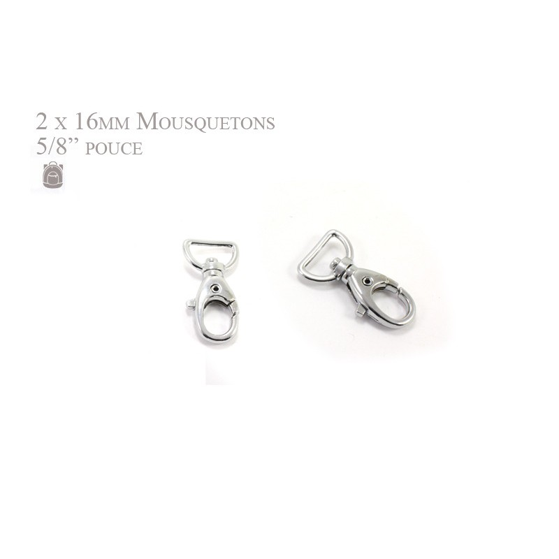 2 x 16mm Mousquetons Pivotants / Métal / Chrome / Style 5