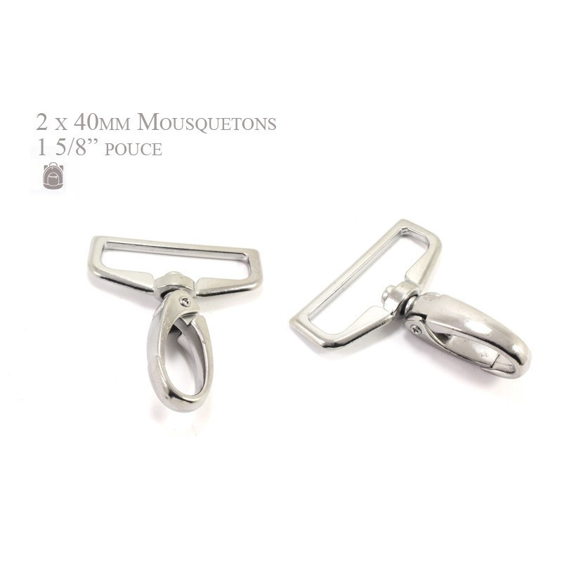 2 x 40mm Mousquetons Pivotants / Métal / Chrome / Style 3