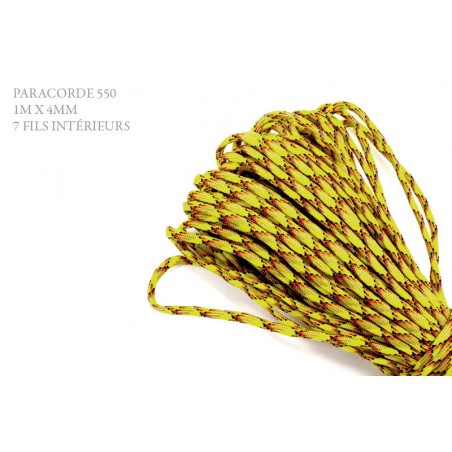 1m x 4mm Paracorde 550 / 57 motif / jaune rouge noir