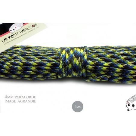 1m x 4mm Paracorde 550 / 55a motif / bleu noir jaune