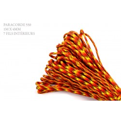 1m x 4mm Paracorde 550 / 56 motif / rouge jaune orange
