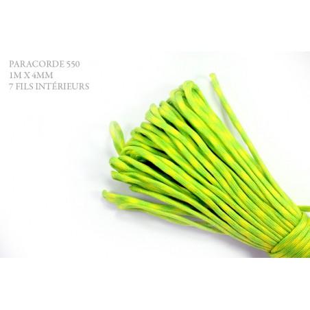 1m x 4mm Paracorde 550 / 39 motif / vert fluo jaune
