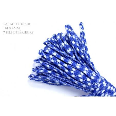 1m x 4mm Paracorde 550 / 51 motif / bleu blanc