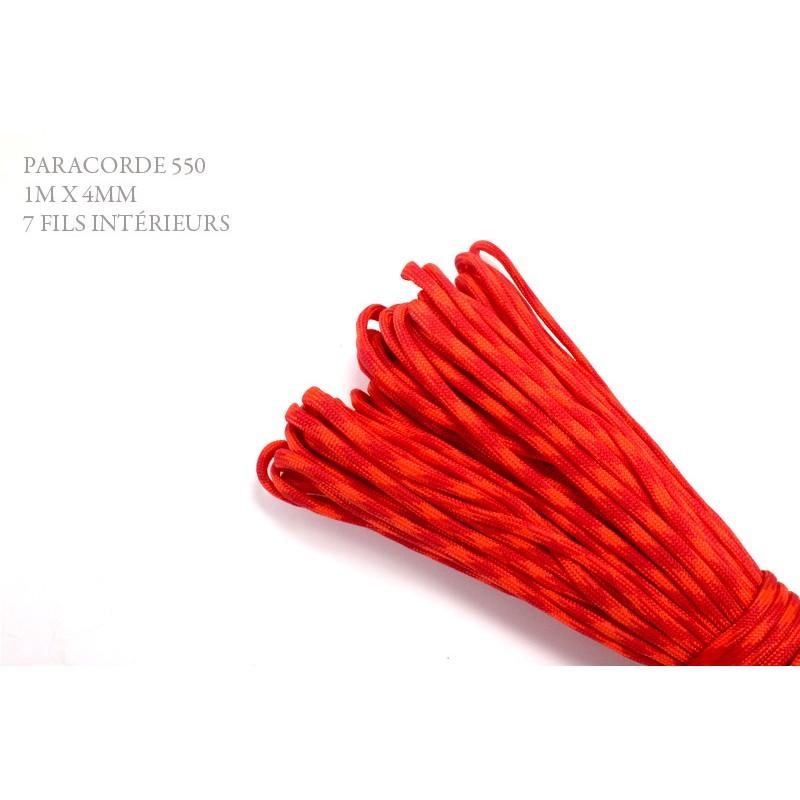 1m x 4mm Paracorde 550 / 36 motif / orange rouge