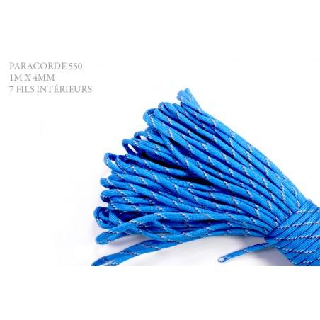 1m x 4mm Paracorde 550 / 78 motif / bleu rouge blanc motif