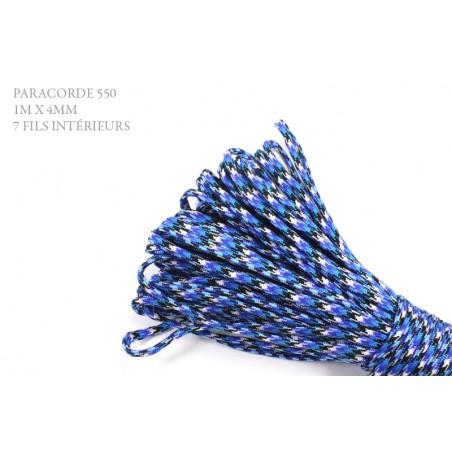 1m x 4mm Paracorde 550 / 69 motif / bleu blanc noir