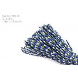 1m x 4mm Paracorde 550 / 52 motif / bleu blanc vert noir