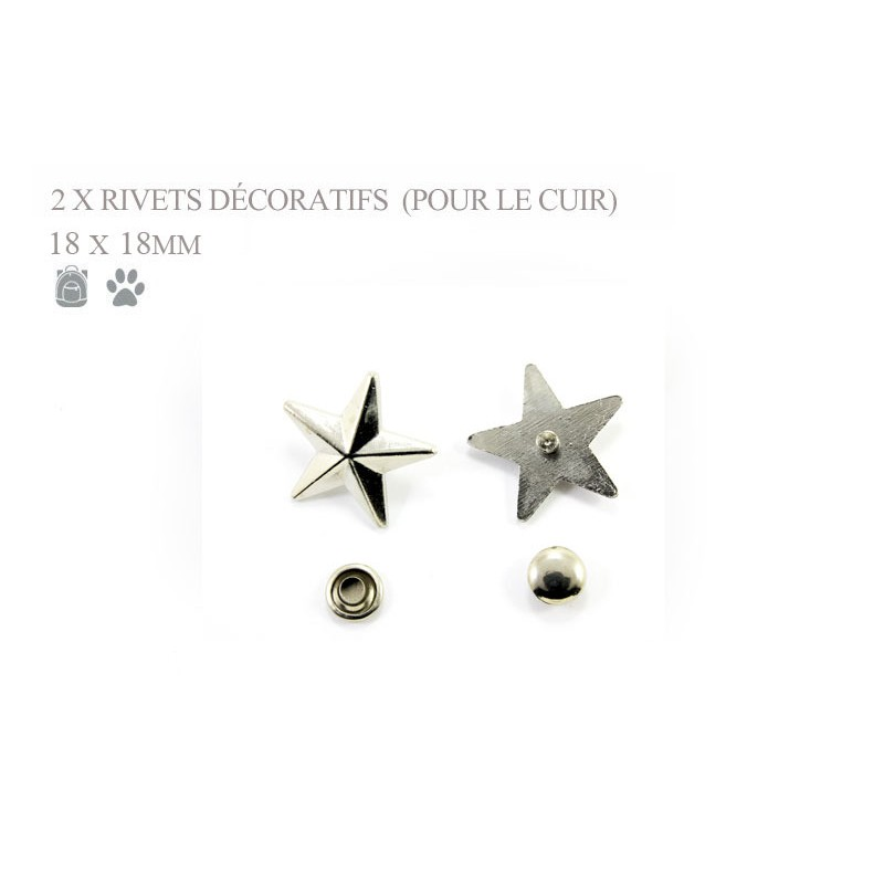 2 x 18mm Rrivets Décoratifs / Etoile / Nickel / Pour le cuir