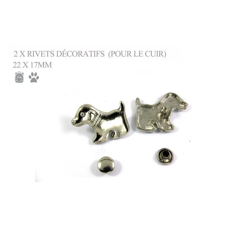 2 rivets décoratifs chiots - pour le cuir