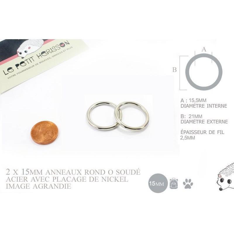 2 x 15mm Anneaux ronds / Métal / Soudé / Nickel
