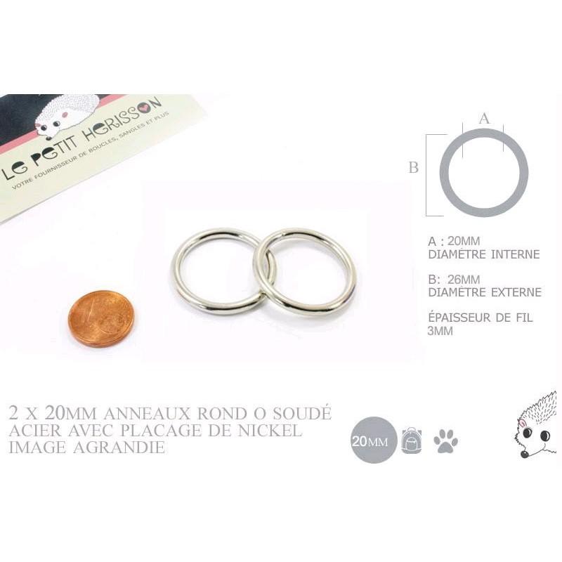 2 x 20mm Anneaux ronds / Métal / Soudé / Nickel